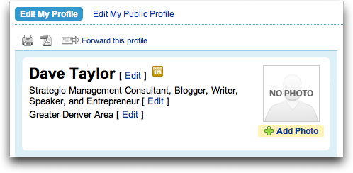 LinkedIn: Profile: Edit Profile: No Photo