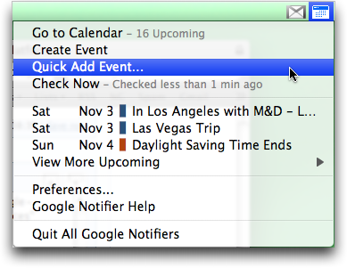 Google Notifier for Mac: Add Event