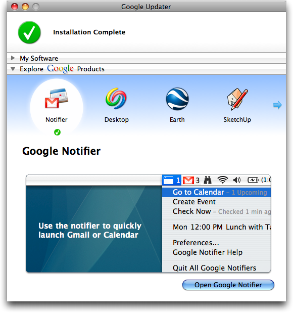 Google Notifier for Mac: Install Complete