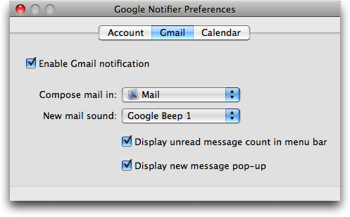 Google Notifier for Mac: Gmail preferences