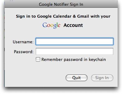 Google Notifier for Mac: Sign In
