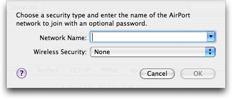 Mac OS X: System Preferences: Network: Airport (wifi/802.11): Add Preferred Network