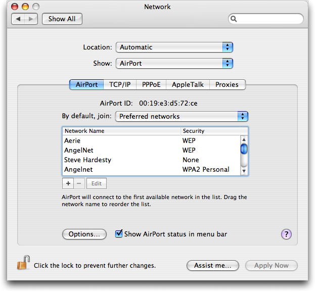 Mac OS X: System Preferences: Network: Airport (wifi/802.11) Status