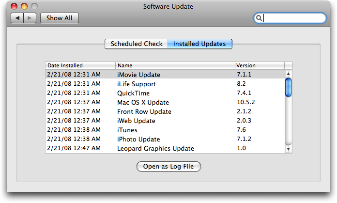 Mac OS X: Software Update: Installed Updates