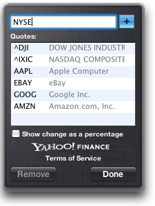 Mac OS X: Stock Dashboard Widget: Configuration