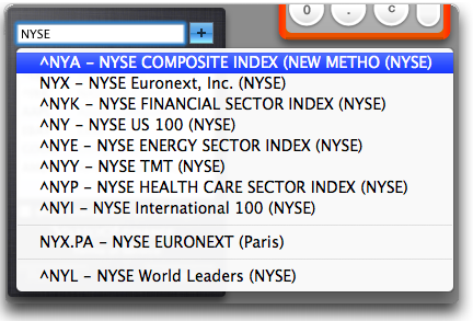Mac OS X: Stock Dashboard Widget: Entering a new Ticker Value
