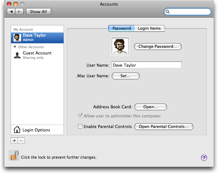 Mac OS X: System Preferences: Accounts
