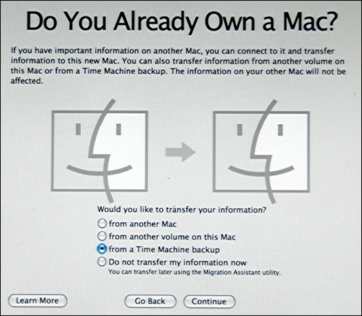 mac restoring from time machine