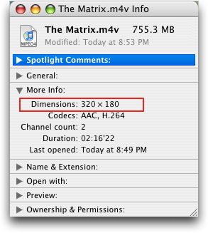 The Matrix: Get Info window from Mac Finder (Mac OS X)