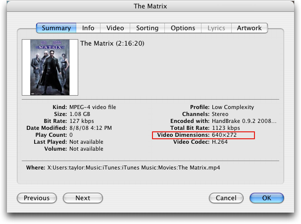 The Matrix: Get Info data in iTunes
