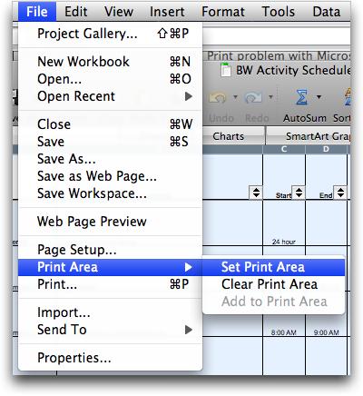 Microsoft Excel: Set Print Area