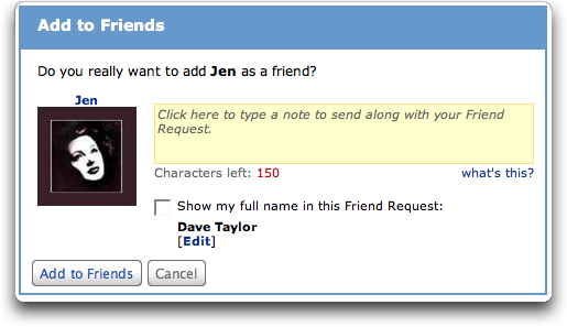 MySpace: Add to Friends window with note field displayed