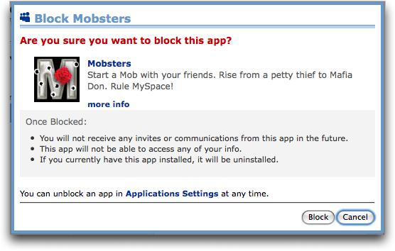 myspace app block mobsters