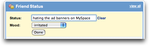 MySpace: Change Status and Mood