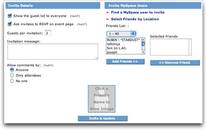 MySpace: Create Event 2