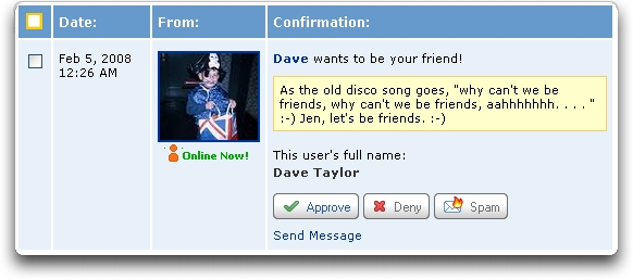 MySpace: Add to Friends Request with note field displayed