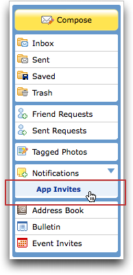 myspace left menu app invites