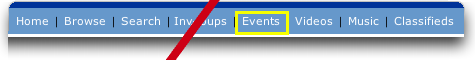 MySpace: Top  Nav Bar: Events