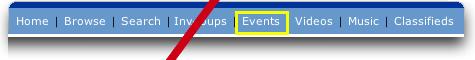 MySpace: Top  Nav Bar: Events