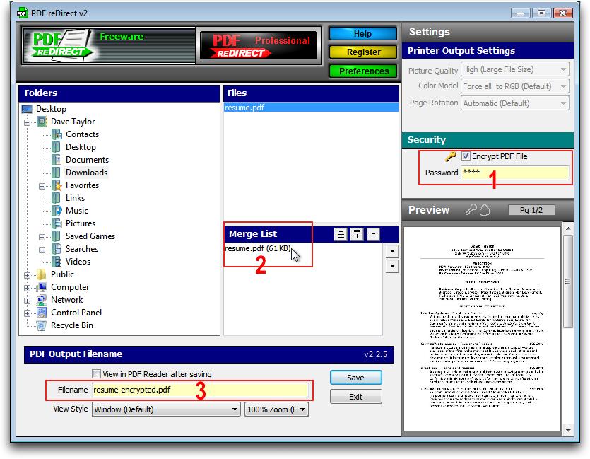 PDF ReDirect: Encrypting PDF on Windows XP / Vista