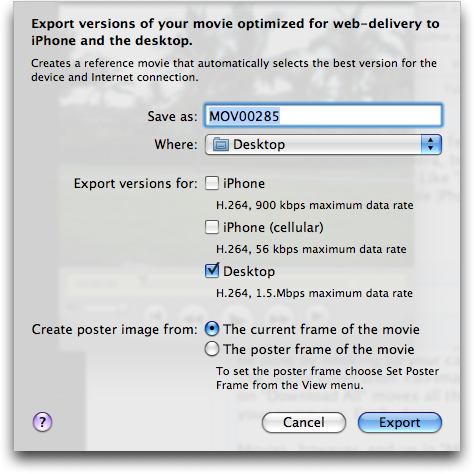 QuickTime Player: Export for Web: Options