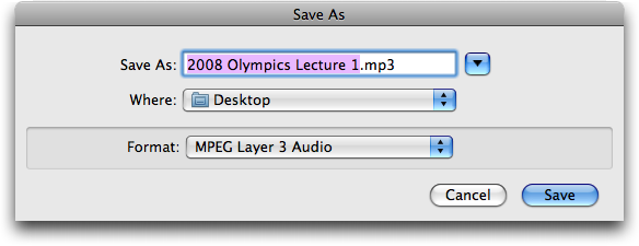 Saving an audio file (history of olympic games) in a Web browser: file name?