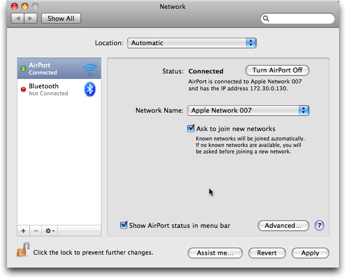 system prefs network airport