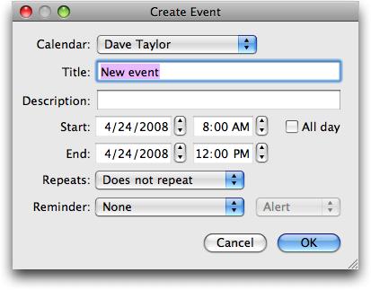 TinyCal Google Calendar / Mac OS X utility: Create New Event