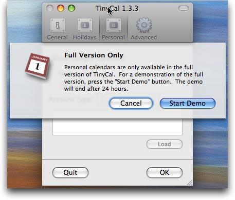 TinyCal Google Calendar / Mac OS X utility: Personal Calendar: Demo