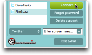 Twitter client TWHIRL: User Accounts window: Setting up new / second account