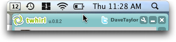 Twitter client TWHIRL: Top edge of window