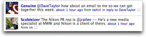Twitter: Reply Examples from Jim Turner and Robert Scoble