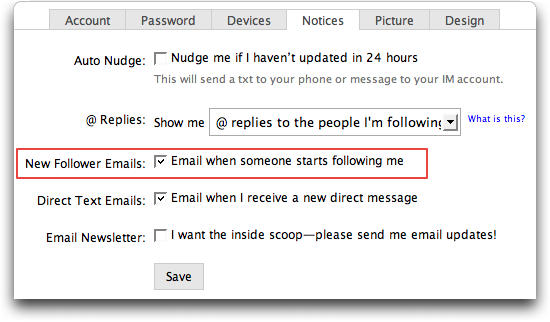 twitter settings notices