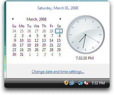 Microsoft Windows Vista: Control Panels: Date and Time Settings: Pop Up