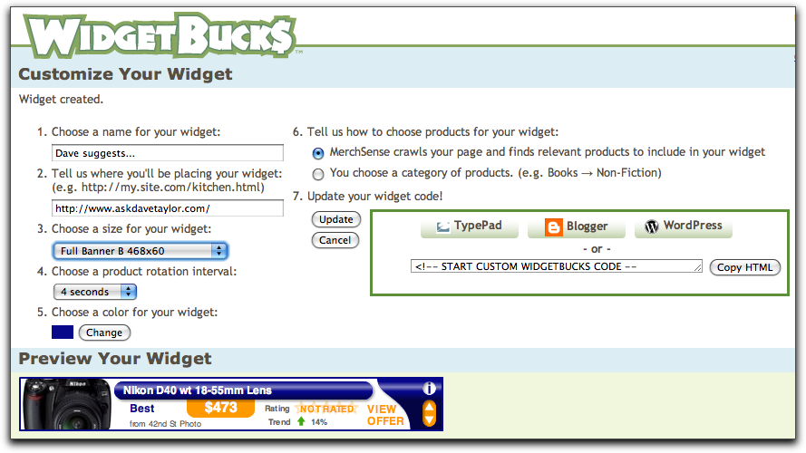 Customize your WidgetBucks widget