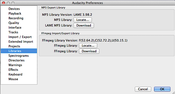 audacity ffmpeg library not found mac