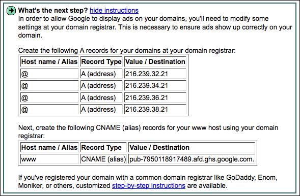 google adsense for domains modify dns