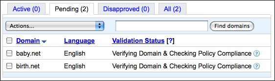 google adsense for domains status