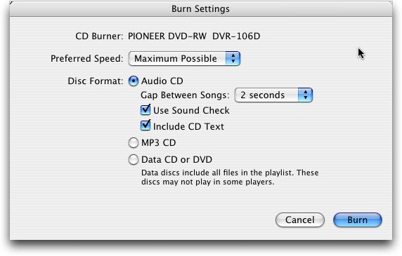itunes burn cd settings