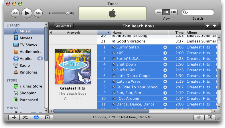 itunes cd selected beach boys