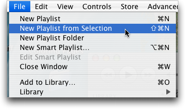 itunes new playlist from selection menu