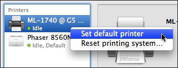 mac print fax set default printer