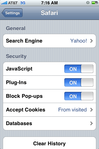 apple iphone settings safari