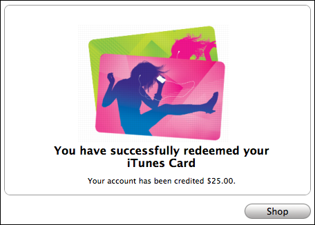 apple itunes store card redeemed