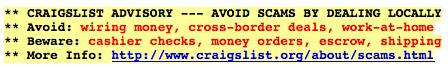 craigstlist money order warning
