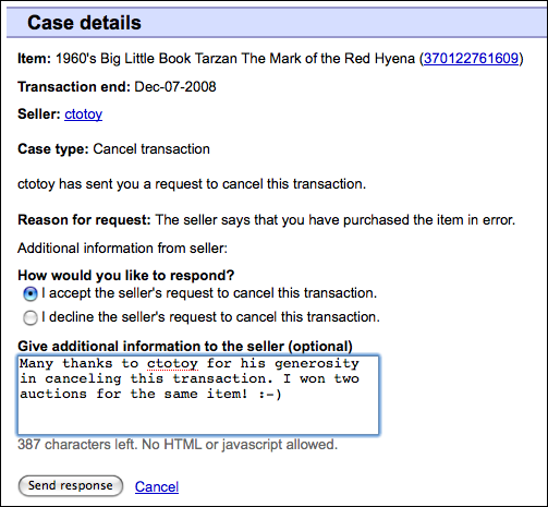 ebay cancel transaction after unpaid