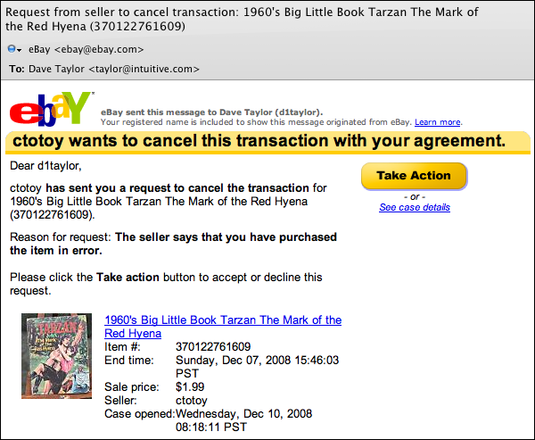 Can an eBay seller really cancel a transaction? - Ask Dave Taylor