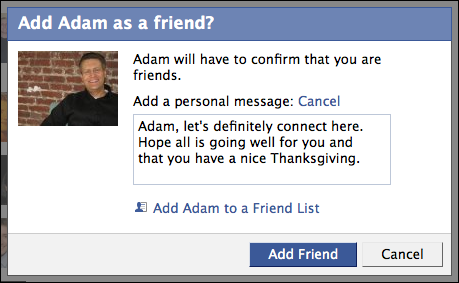 facebook add as friend personalized