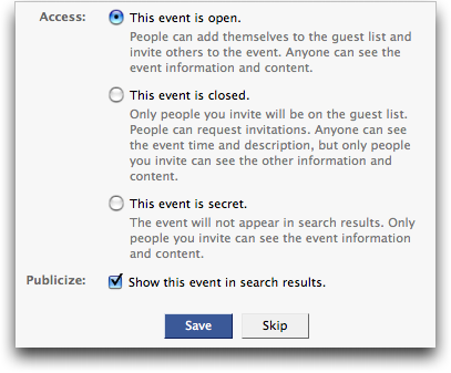 facebook create event info access