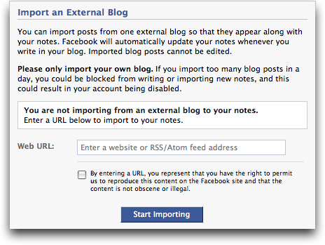 facebook import an external blog (facebook blog rss)